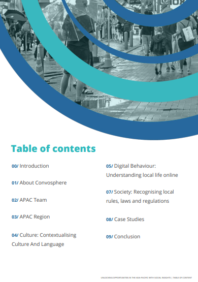 Table of Contents for Consumer Insights and Digital Behaviour in the Asia-Pacific Region Whitepaper