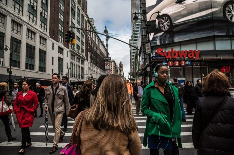 People on a pedestrian crossing in New York