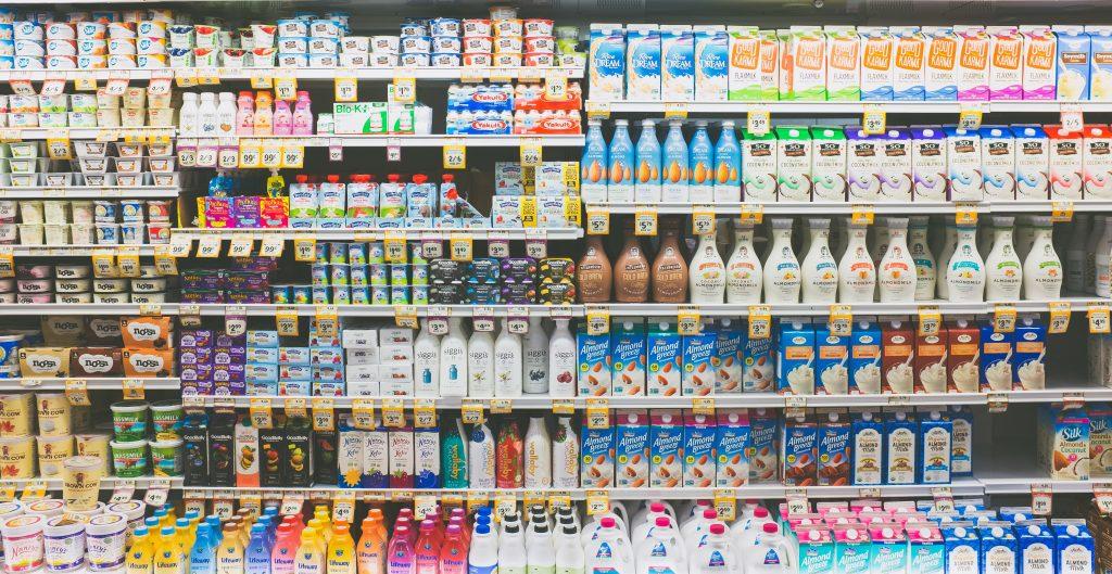Supermarket fridge with drinks.